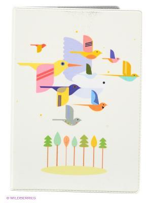 Обложка для паспорта Птицы на светло-розовом Mitya Veselkov. Цвет: белый, зеленый