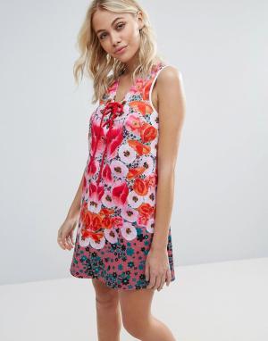 Clover Canyon Неопреновое платье с цветами. Цвет: мульти