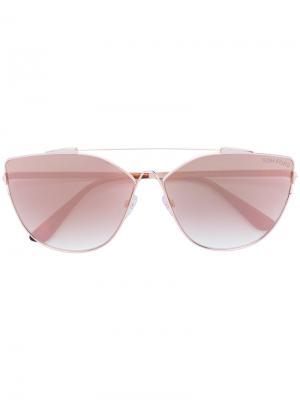 Солнцезащитные очки в объемной оправе Tom Ford Eyewear. Цвет: жёлтый и оранжевый