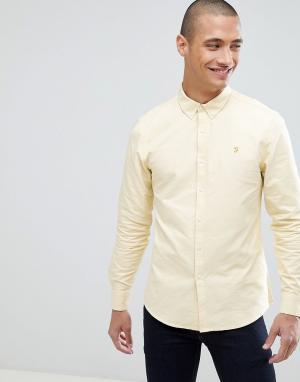 Farah Желтая облегающая оксфордская рубашка Brewer. Цвет: желтый