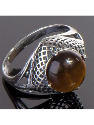 Кольцо Лерос тигровый глаз Колечки. Цвет: коричневый