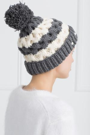 Шерстяная шапка 7II. Цвет: серый, кремовый