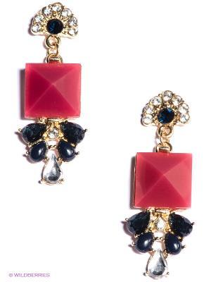 Серьги Milana Style. Цвет: золотистый, черный, красный