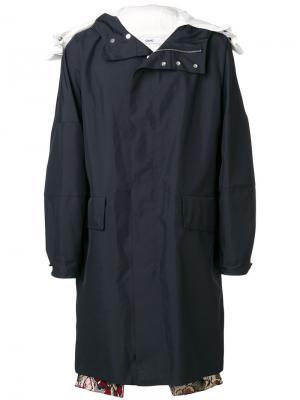 Однобортное пальто Oamc. Цвет: синий