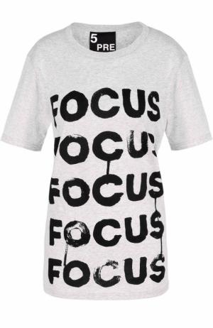 Хлопковая футболка с контрастной надписью 5PREVIEW. Цвет: серый