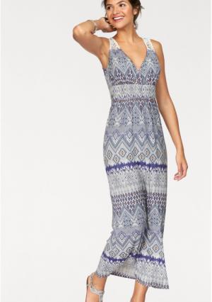 Платье макси AJC. Цвет: белый/джинсовый синий/сиреневый