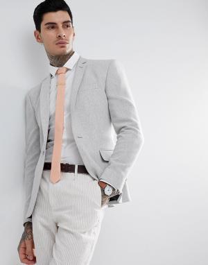 ASOS Серый супероблегающий блейзер из фактурной ткани с добавлением шерсти. Цвет: серый