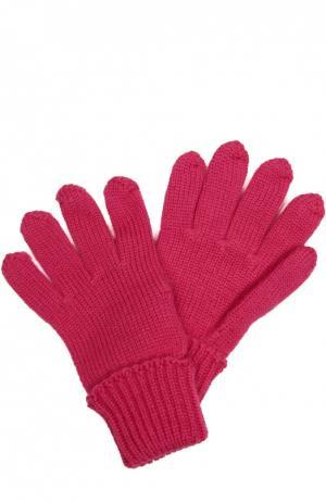 Вязаные перчатки из шерсти Il Trenino. Цвет: фуксия