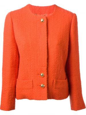 Фактурный пиджак с юбкой Céline Vintage. Цвет: жёлтый и оранжевый
