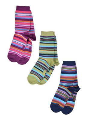 Носки Детские,комплект 3шт Malerba. Цвет: синий, бордовый, салатовый