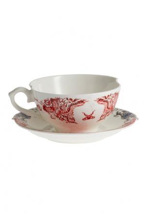Набор из трех чайных чашек Seletti. Цвет: белый, разноцветный