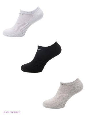 Носки 3P YTH CTN CUSH NO SHOW W/ MOIST MGT, 3 пары Nike. Цвет: белый, черный, светло-серый