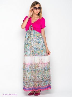 Платье Gemko. Цвет: фуксия, желтый, белый, голубой