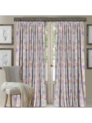 Комплект штор, Орхидея, печать 150*270 МарТекс. Цвет: лиловый