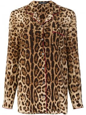 Пижамная рубашка с леопардовым узором Dolce & Gabbana. Цвет: коричневый
