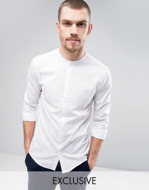 Noak Строгая рубашка без воротника. Цвет: белый