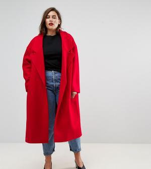ASOS Curve Пальто с большим воротником. Цвет: красный