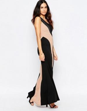 Jessica Wright Платье макси на одно плечо Silla. Цвет: черный
