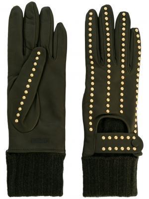 Перчатки с заклепками Moschino. Цвет: зелёный