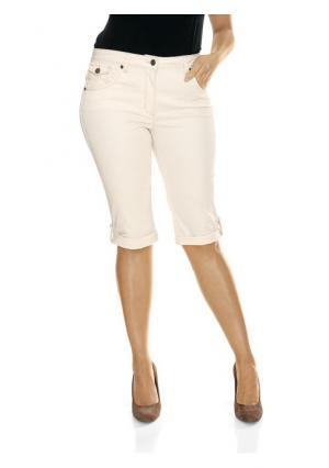 Моделирующие джинсы-капри Ashley Brooke. Цвет: варенка, аква, белый, коралловый, молочно-белый, розовый, синий потертый, темный потертый, черный, ягодный
