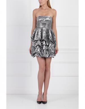 Платье из вискозы и шелка Jay Ahr. Цвет: серебряный