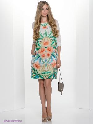 Платье Henry Cotton's. Цвет: бежевый, белый, зеленый