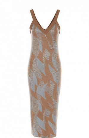 Облегающее вязаное платье на бретельках Tak.Ori. Цвет: голубой