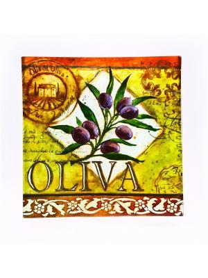Блюдо стеклянное квадратное 35см. Оливки Certified International. Цвет: бежевый