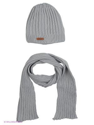 Шапка и шарф Grans. Цвет: светло-серый