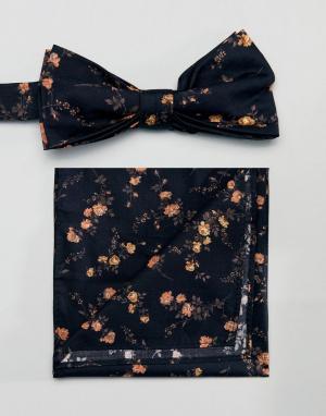 Gianni Feraud Галстук-бабочка и платок для нагрудного кармана с принтом Ferau. Цвет: черный