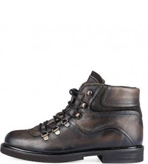 Коричневые кожаные ботинки Felmini. Цвет: коричневый