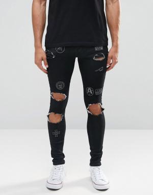 Always Rare Рваные супероблегающие джинсы с нашивками. Цвет: черный