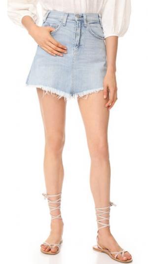 Мини-юбка Izabel с высокой посадкой McGuire Denim. Цвет: американский винтажный