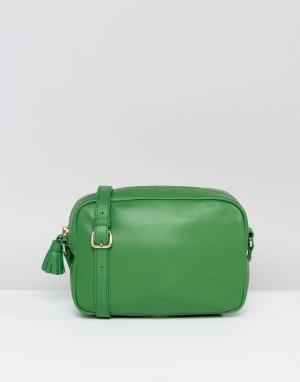 Made Кожаная сумка через плечо с кисточкой. Цвет: зеленый