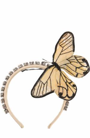 Ободок с декоративной отделкой в виде бабочки Dolce & Gabbana. Цвет: желтый