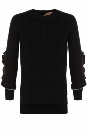 Шерстяной пуловер с круглым вырезом и оборками No. 21. Цвет: черный