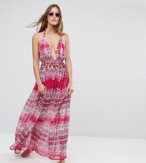 ASOS Tall Розовое шифоновое пляжное платье макси со змеиным принтом и отделкой н. Цвет: мульти
