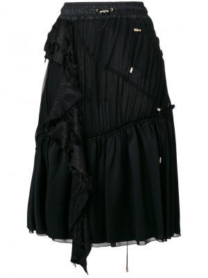 Юбка с оборкой и шнурком Versace. Цвет: чёрный