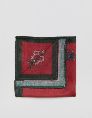 ASOS Красный платок для нагрудного кармана с цветочным принтом. Цвет: красный
