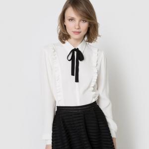 Рубашка с воланами и галстуком-лавальер MADEMOISELLE R. Цвет: слоновая кость/ черный