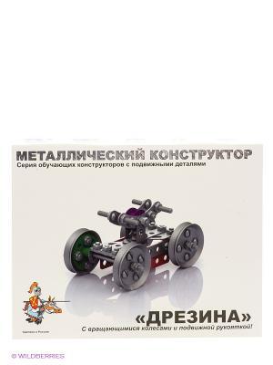 Металлический конструктор с подвижными деталями Дрезина Десятое королевство. Цвет: белый