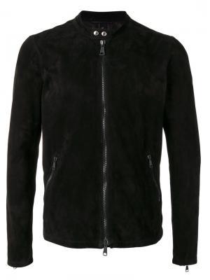 Байкерская куртка с круглым вырезом Giorgio Brato. Цвет: чёрный