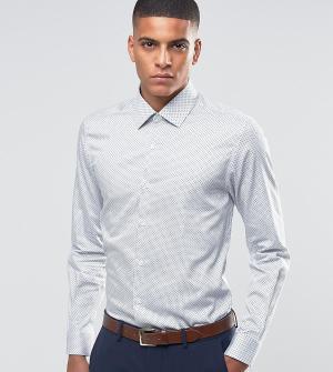 Number Eight Savile Row Строгая рубашка скинни в горошек. Цвет: белый