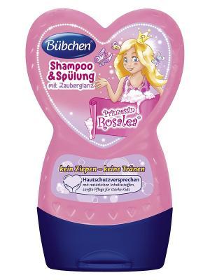 Шампунь и ополаскиватель для волос с волшебным блеском Принцесса Розалея,  230 мл. Bubchen. Цвет: розовый