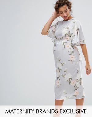 Hope and Ivy Maternity Платье миди в стиле кимоно с принтом &. Цвет: мульти