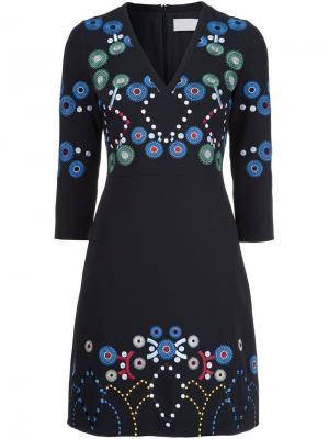 Платье с V-образным вырезом и вышивкой Peter Pilotto. Цвет: чёрный