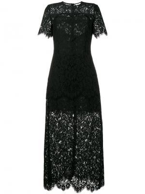 Гипюровое платье длины миди Duvallace Ganni. Цвет: чёрный