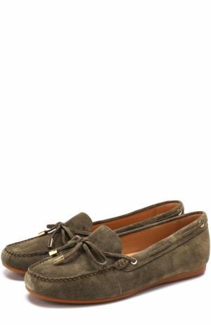 Замшевые мокасины Sutton на шнуровке MICHAEL Kors. Цвет: оливковый