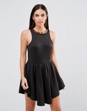 Girl In Mind Платье с асимметричной горловиной Caitlyn. Цвет: черный