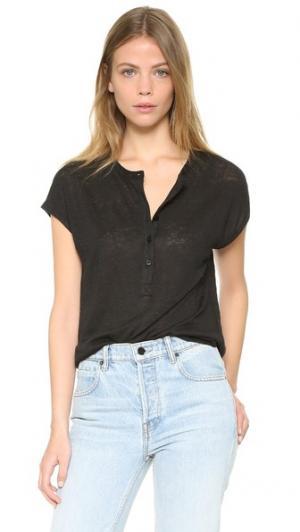 Льняная футболка с передней застежкой Cocoon Vince. Цвет: голубой